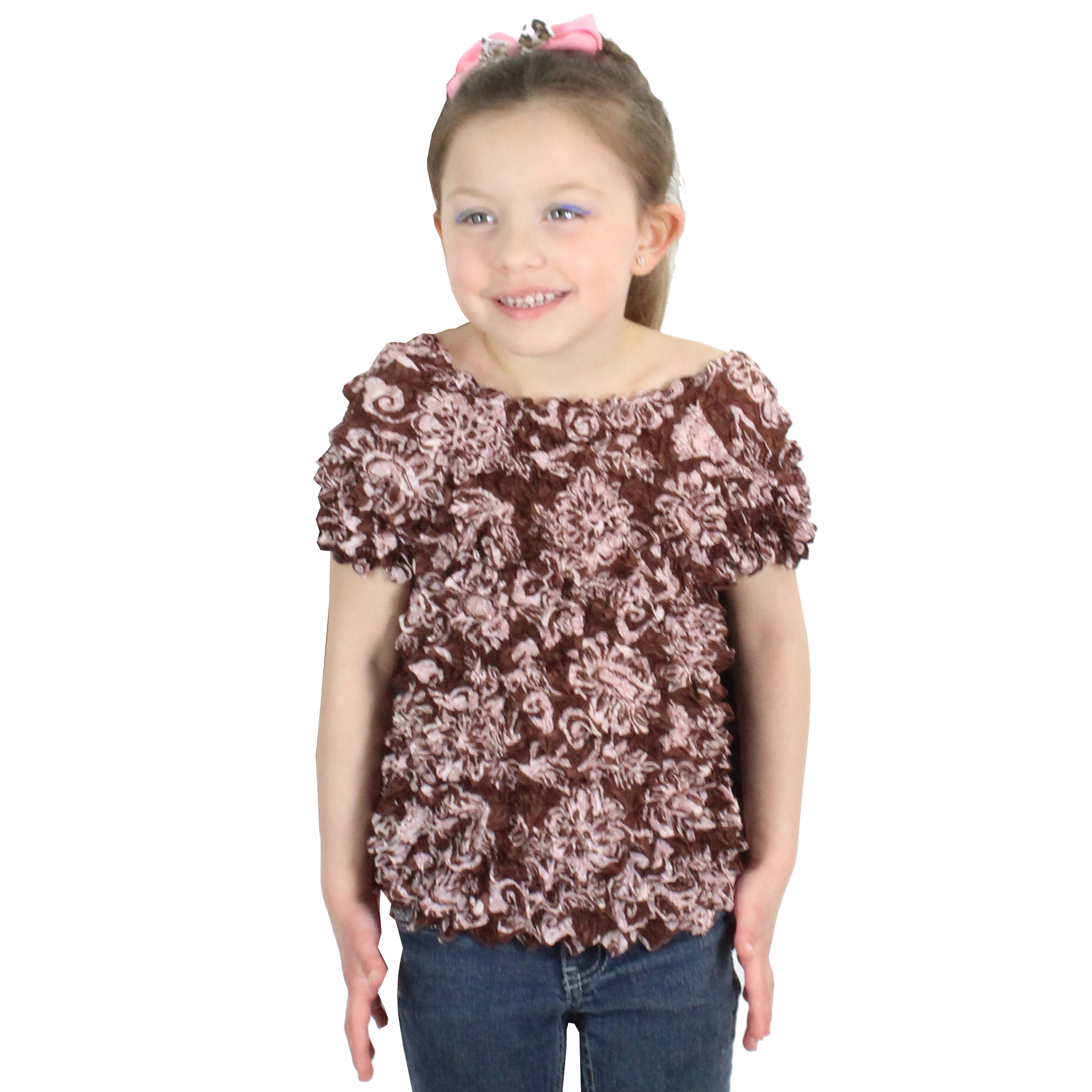 Wholesale Silky Touch Popcorn - Kids Size  Short Sleeve Floral Brown - Toddler - Tween