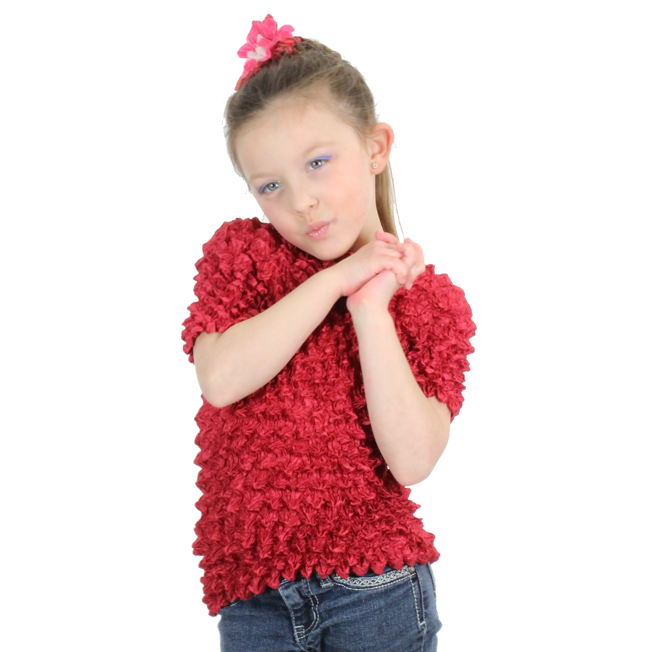 Wholesale Silky Touch Popcorn - Kids Size  Short Sleeve Burgundy - Toddler - Tween
