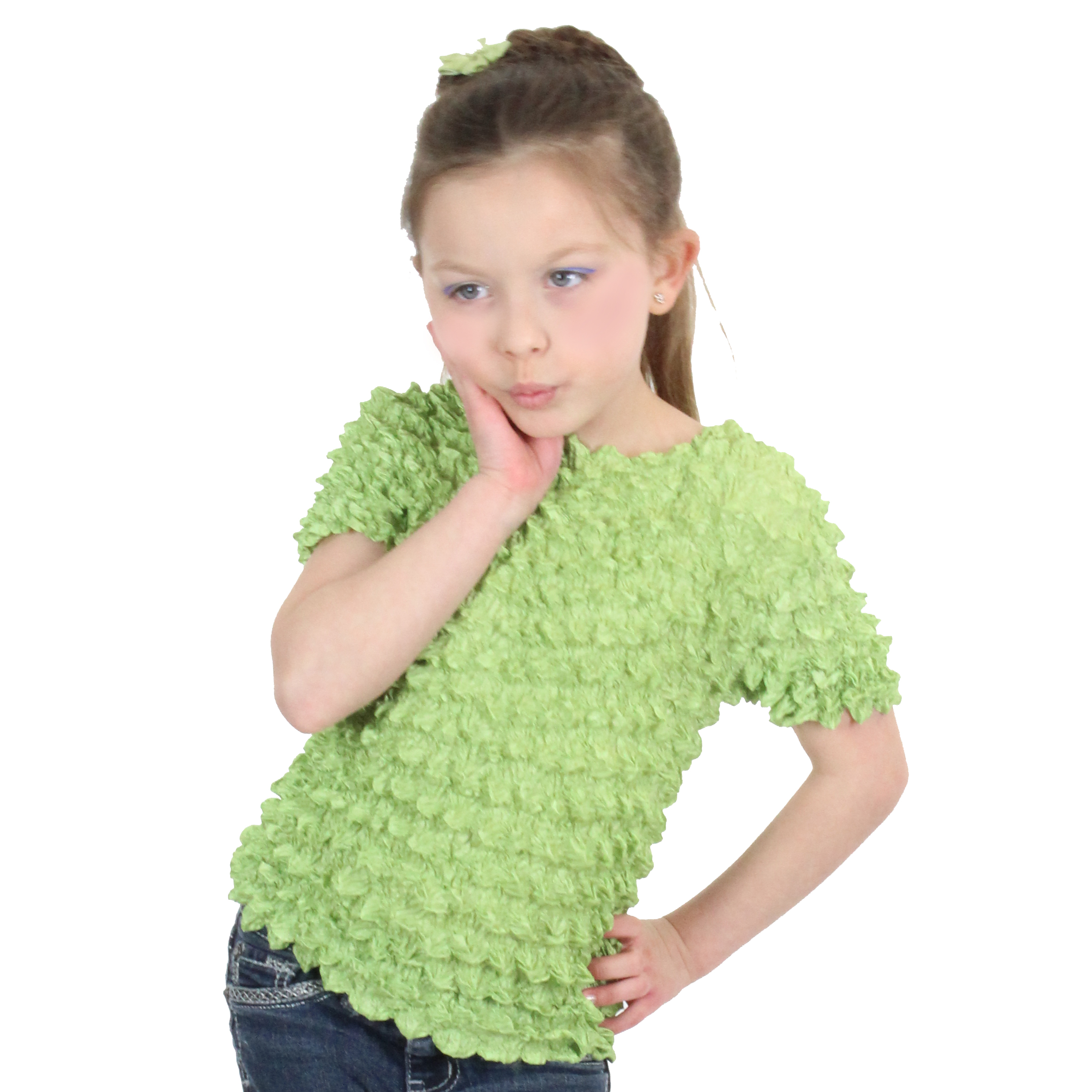 Wholesale Silky Touch Popcorn - Kids Size  Short Sleeve Light Green - Toddler - Tween