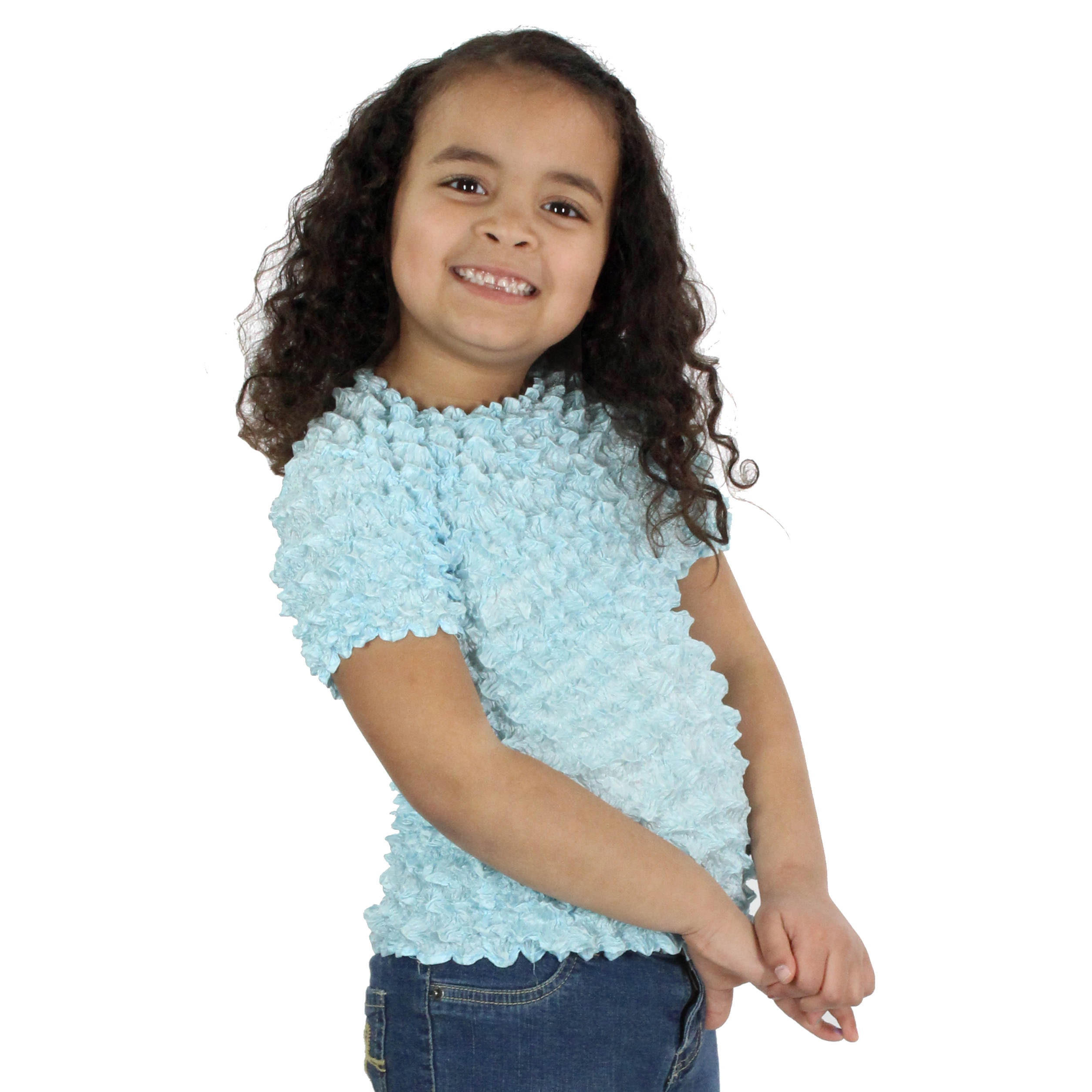 Wholesale Silky Touch Popcorn - Kids Size  Short Sleeve Sky Blue - Toddler - Tween