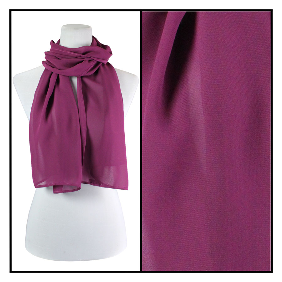 Wholesale Georgette Scarves  Solid Raspberry -