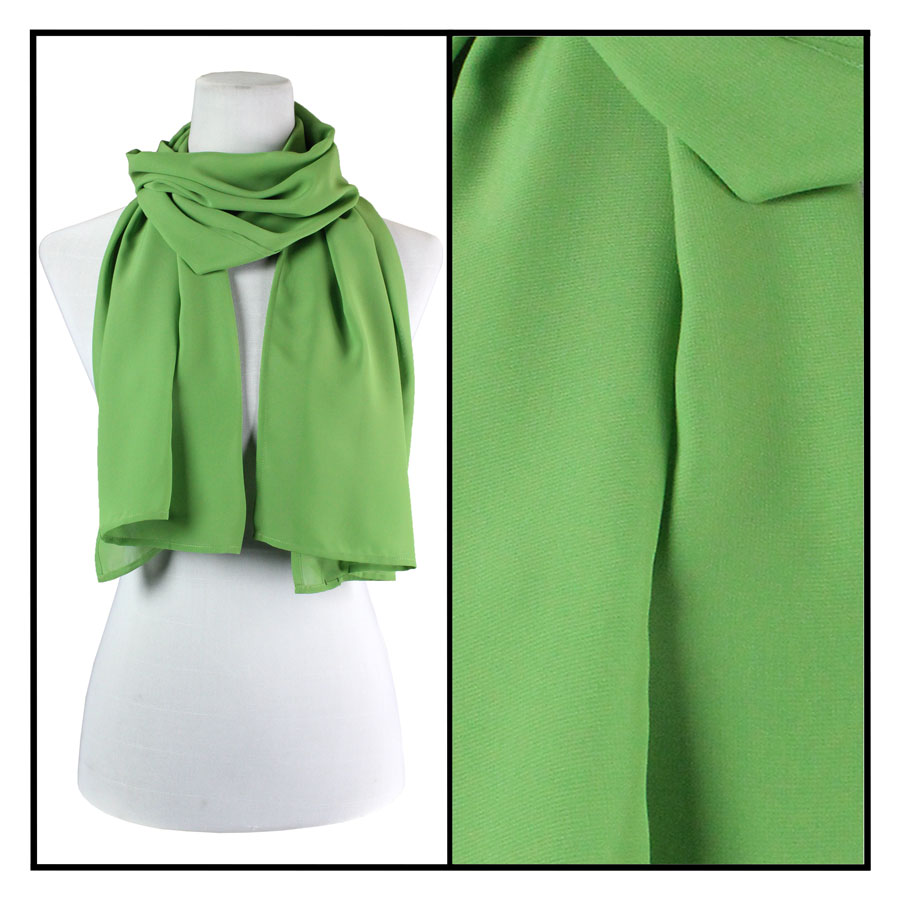 Wholesale Georgette Scarves  Solid Green -