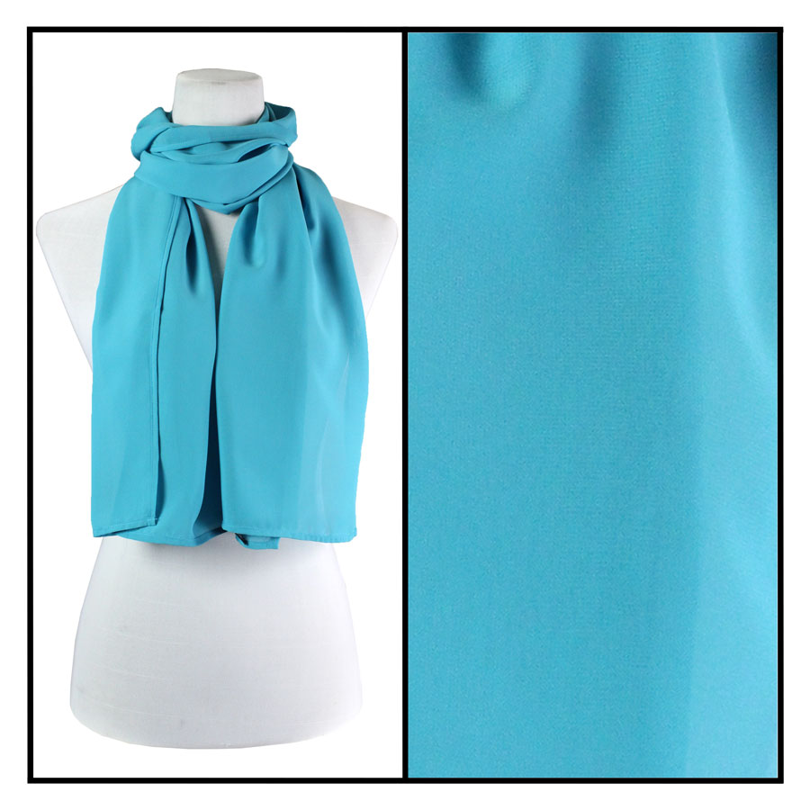 Wholesale Georgette Scarves  Solid Aqua -