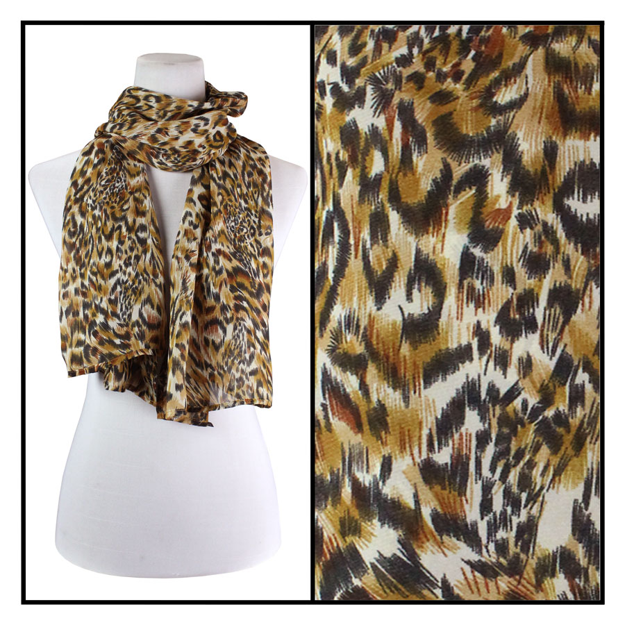 Wholesale Georgette Scarves  Leopard -