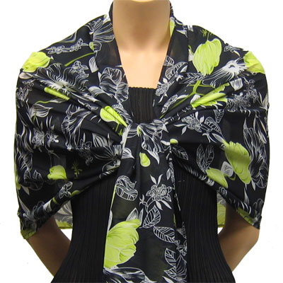 Wholesale Georgette Wraps*  Black-Kiwi Floral  -