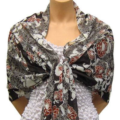 Wholesale Georgette Wraps*  Chocolate-Ivory Floral -