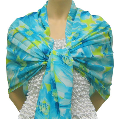 Wholesale Georgette Wraps*  Daisies - Aqua -