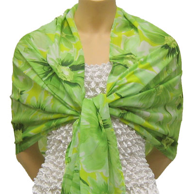 Wholesale Georgette Wraps*  Daisies - Green -