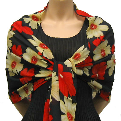 Wholesale Georgette Wraps*  Hibiscus Red-Tan -