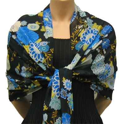 Wholesale Georgette Wraps*  Mums Blue-Black -
