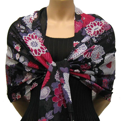 Wholesale Georgette Wraps*  Mums Pink-Black -