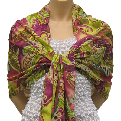 Wholesale Georgette Wraps*  Pink-Lime Paisley -