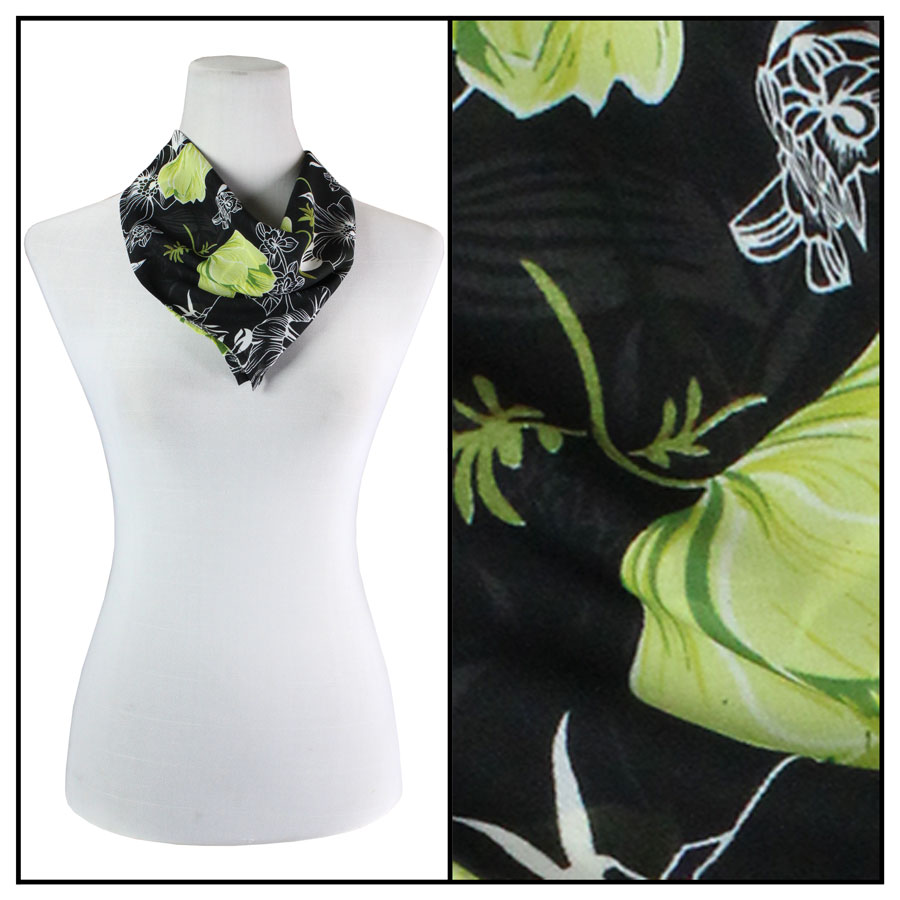 Wholesale Georgette Neckerchief Squares*  Black-Kiwi Floral -