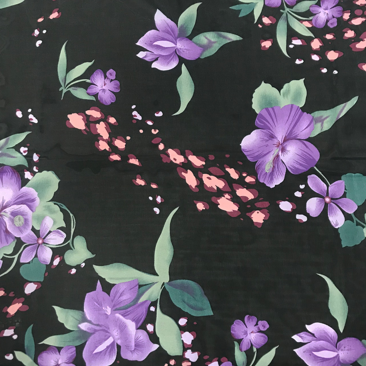 Wholesale Georgette Neckerchief Squares*  Black-Purple Floral -