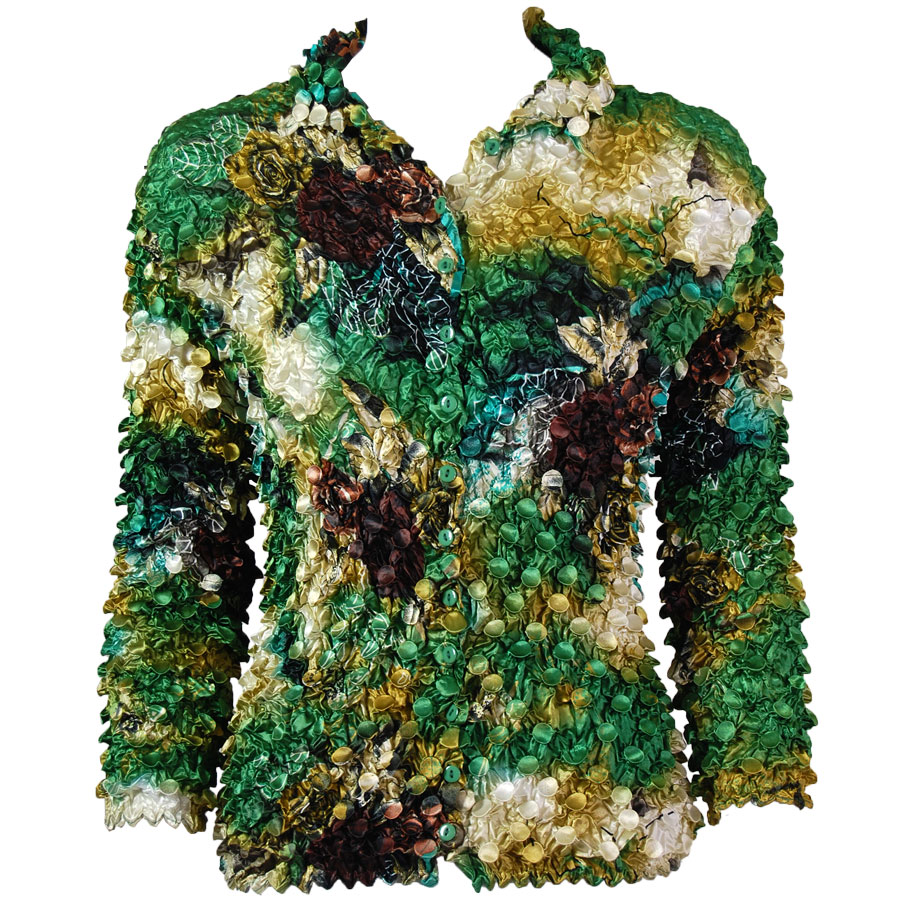 Wholesale Coin Style - Cardigan Floral - Green-Gold - One Size (S-XL)