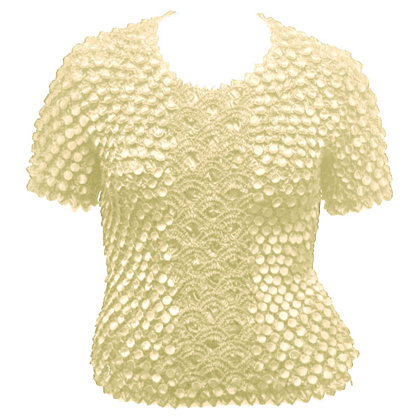 Wholesale Queen - Coin Fishscale - Short Sleeve Ivory - Queen Size Fits (XL-3X)