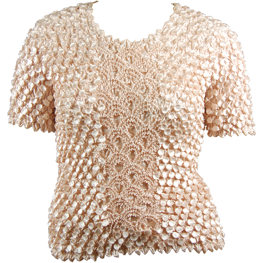 Wholesale Queen - Coin Fishscale - Short Sleeve Beige - Queen Size Fits (XL-3X)