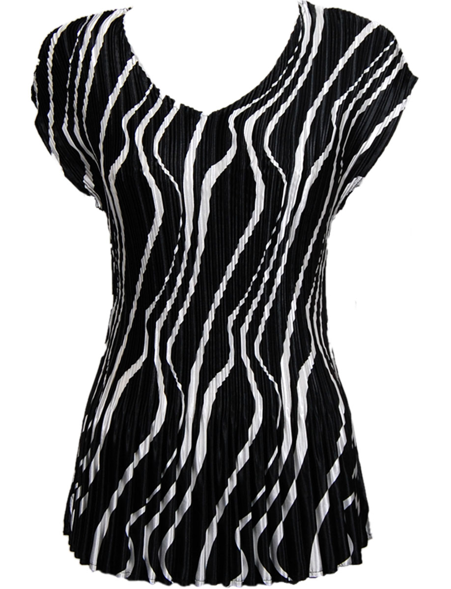 Wholesale Satin Mini Pleats - Cap Sleeve V-Neck Ribbon Black-White - One Size (S-XL)