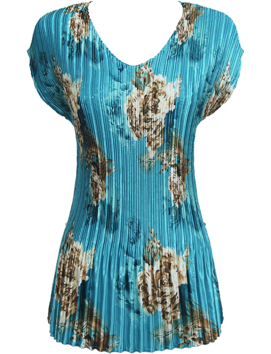 Wholesale Satin Mini Pleats - Cap Sleeve V-Neck Taupe on Teal - One Size (S-XL)