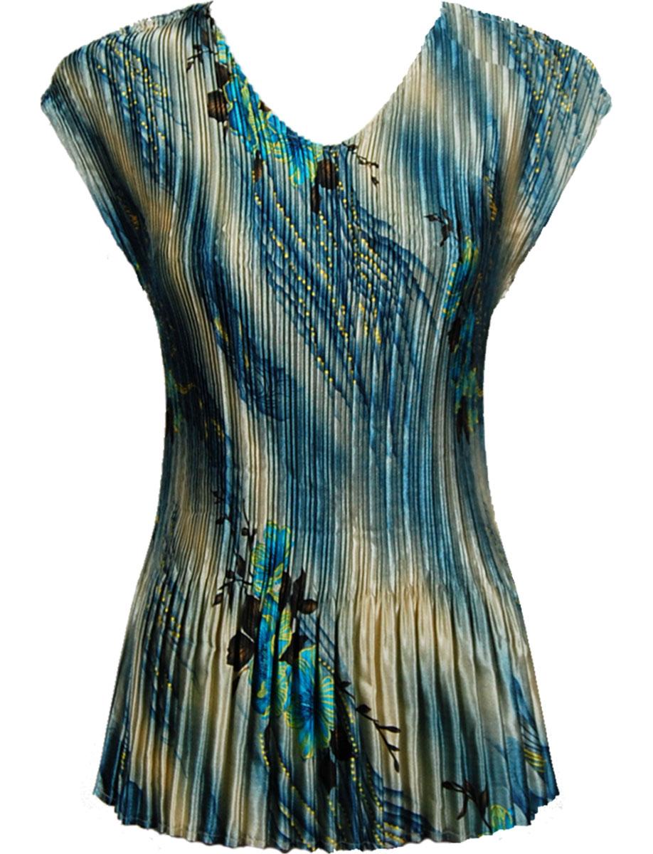 Wholesale Satin Mini Pleats - Cap Sleeve V-Neck Marble Floral - Blue (MB) - One Size (S-XL)