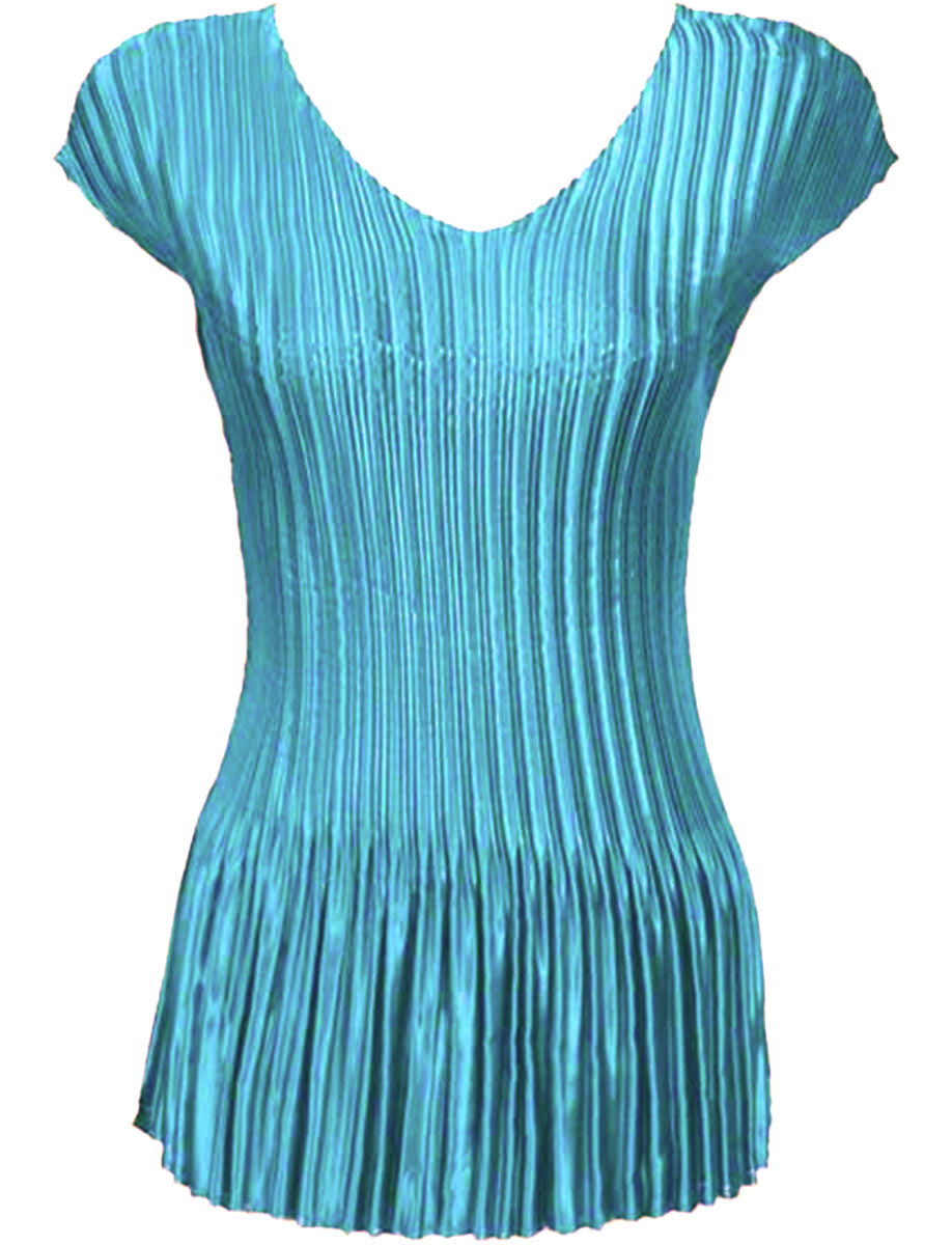 Wholesale Satin Mini Pleats - Cap Sleeve V-Neck Solid Aqua - One Size (S-XL)