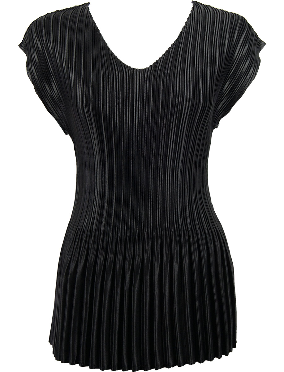 Wholesale Satin Mini Pleats - Cap Sleeve V-Neck Solid Black - One Size (S-XL)