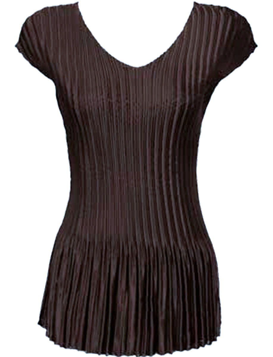 Wholesale Satin Mini Pleats - Cap Sleeve V-Neck Solid Brown - One Size (S-XL)