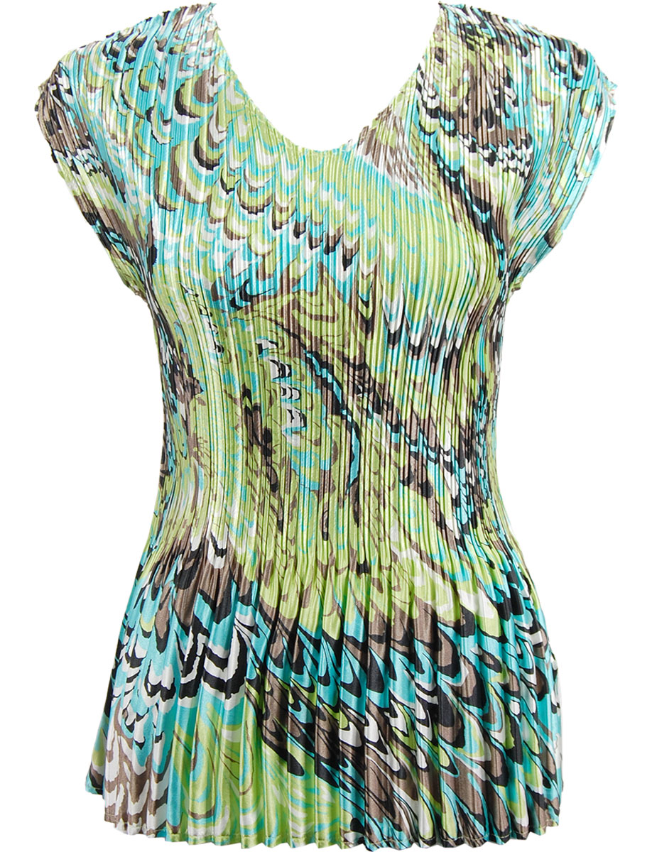 Wholesale Satin Mini Pleats - Cap Sleeve V-Neck Lime-Aqua Peacock - One Size (S-XL)