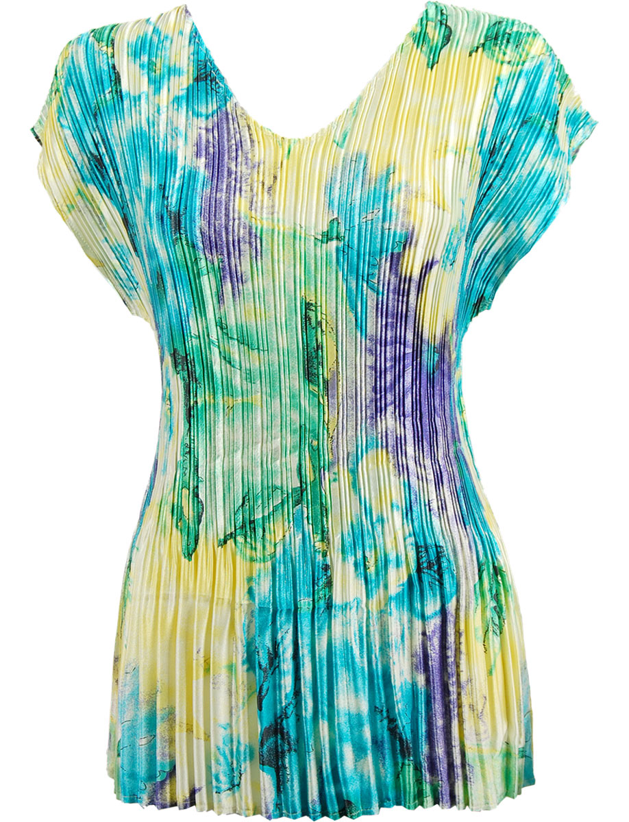 Wholesale Satin Mini Pleats - Cap Sleeve V-Neck Blue-Purple-Yellow Watercolors - One Size (S-XL)