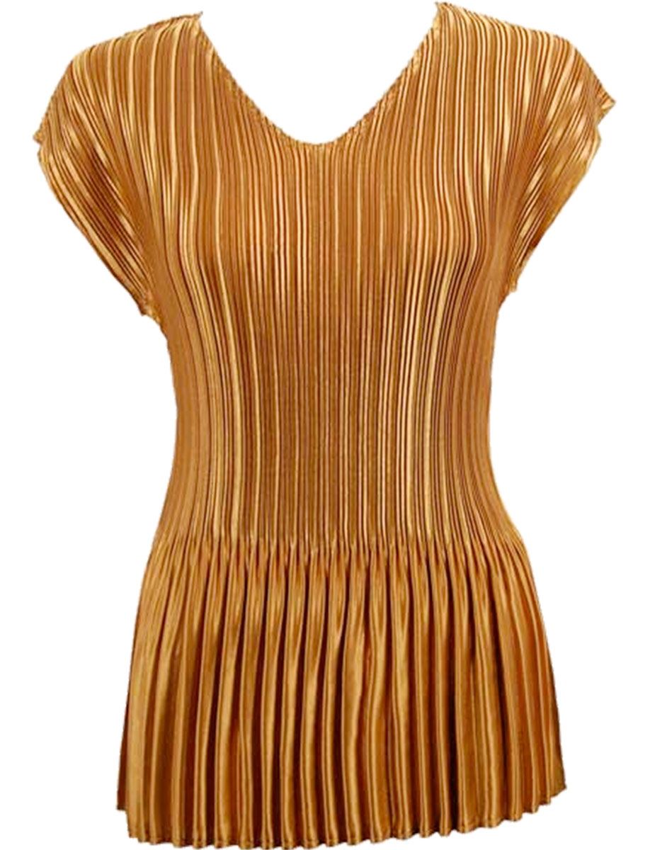 Wholesale Satin Mini Pleats - Cap Sleeve V-Neck Solid Copper - One Size (S-XL)