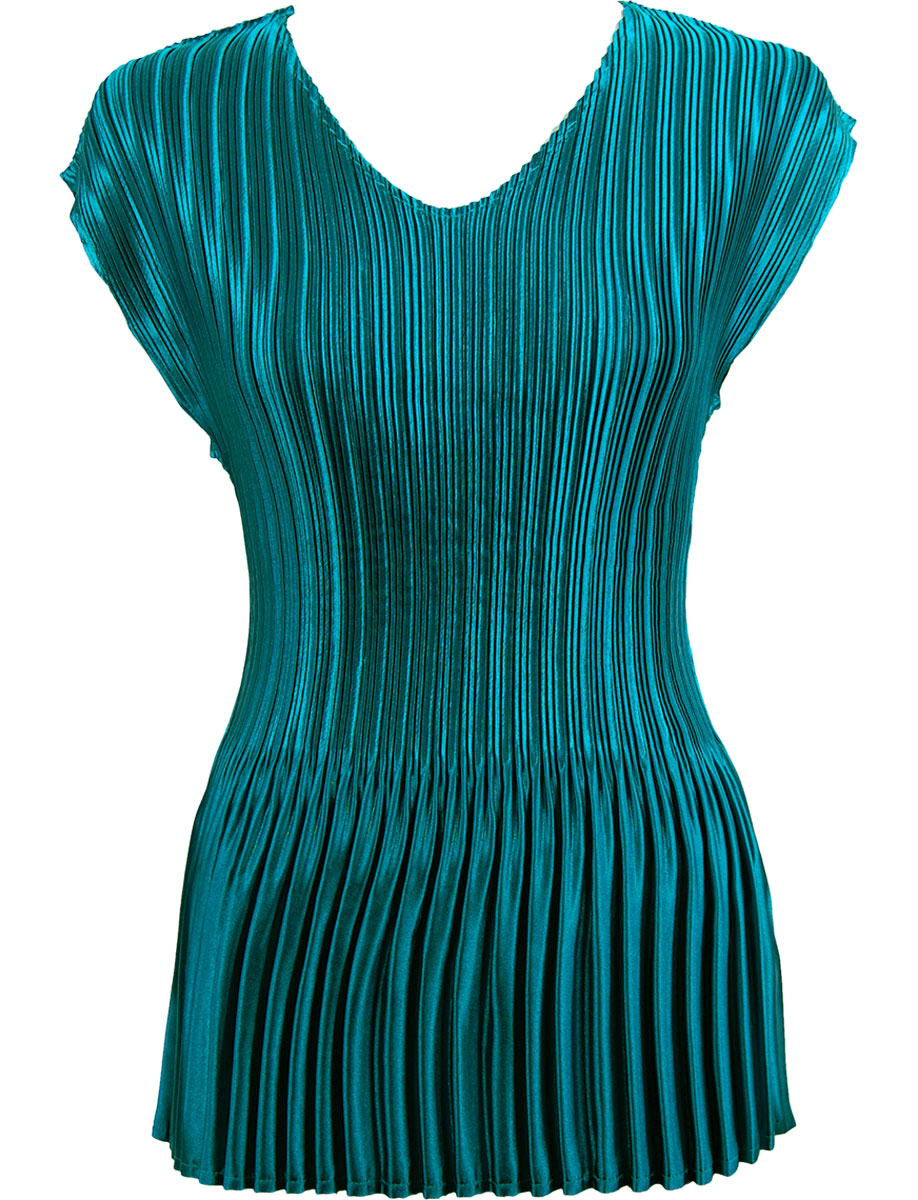 Wholesale Satin Mini Pleats - Cap Sleeve V-Neck Solid Dark Teal Blue - One Size (S-XL)