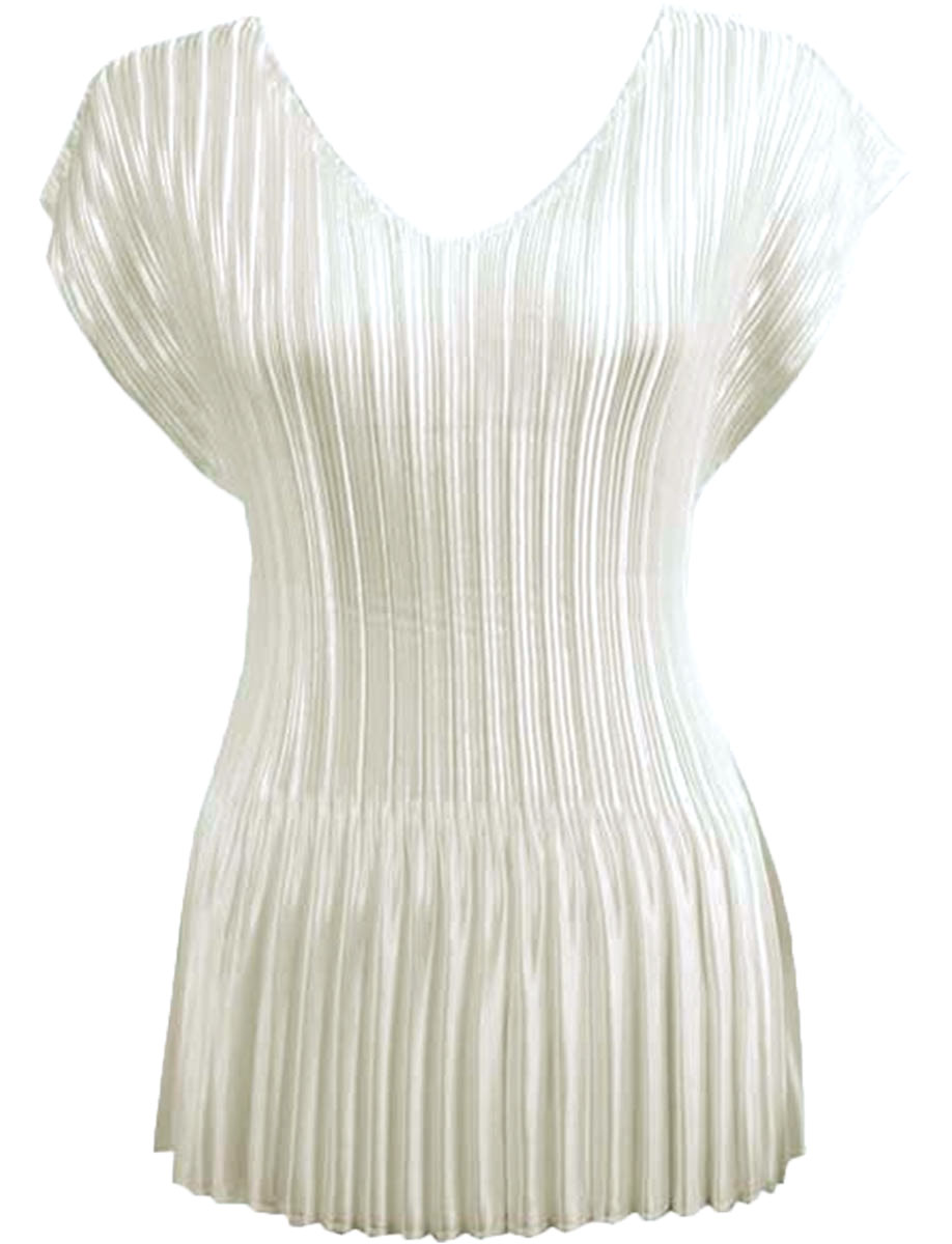 Wholesale Satin Mini Pleats - Cap Sleeve V-Neck Solid Off White - One Size (S-XL)