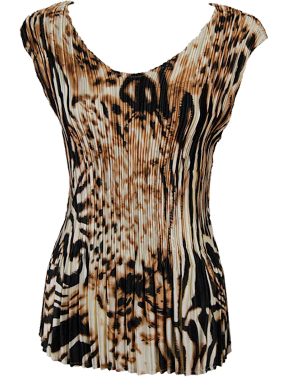 Wholesale Satin Mini Pleats - Cap Sleeve V-Neck Bronze Leopard - One Size (S-XL)