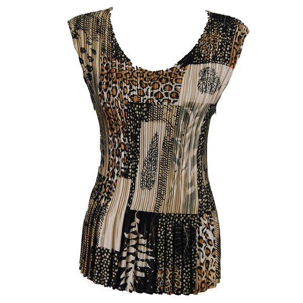 Wholesale Satin Mini Pleats - Cap Sleeve V-Neck Patchwork Jungle - One Size (S-XL)