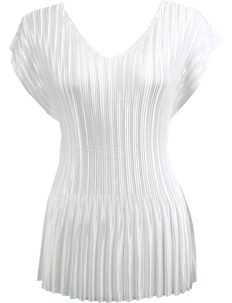 Wholesale Satin Mini Pleats - Cap Sleeve V-Neck Solid White - One Size (S-XL)
