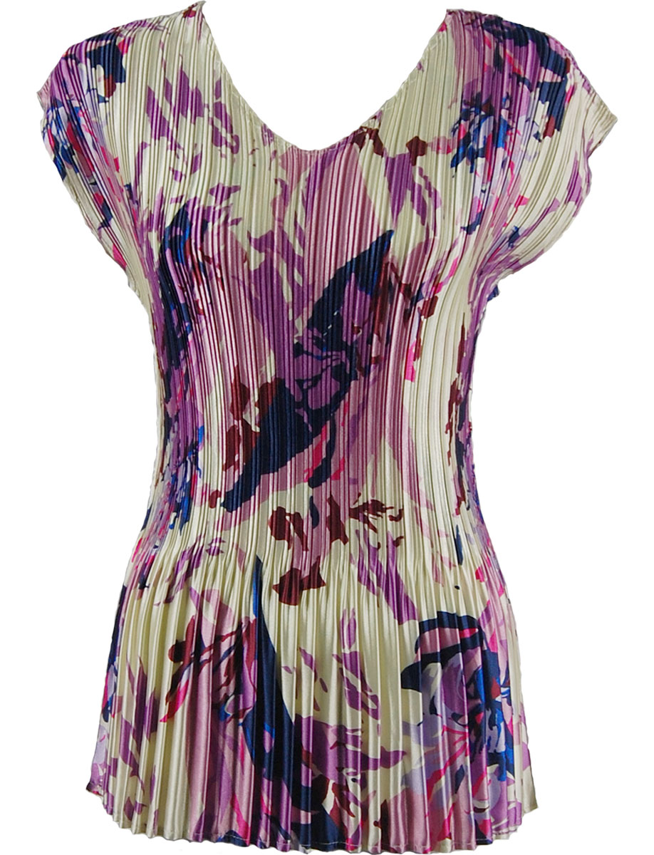 Wholesale Satin Mini Pleats - Cap Sleeve V-Neck Abstract Floral Raspberry-Navy - One Size (S-XL)
