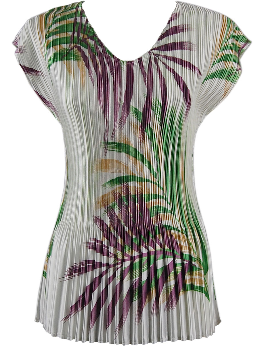 Wholesale Satin Mini Pleats - Cap Sleeve V-Neck Palm Leaf Green-Purple - One Size (S-XL)