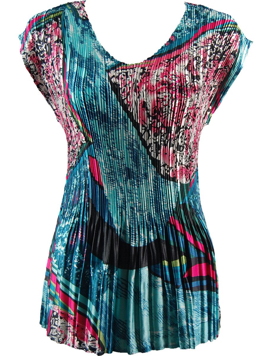 Wholesale Satin Mini Pleats - Cap Sleeve V-Neck Oriental Abstract - One Size (S-XL)
