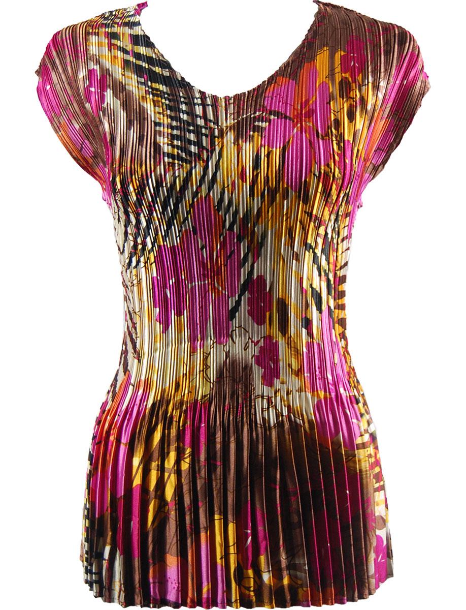 Wholesale Satin Mini Pleats - Cap Sleeve V-Neck Jungle Floral - Pink - One Size (S-XL)