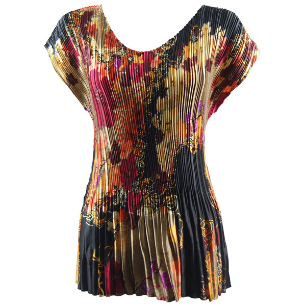 Wholesale Satin Mini Pleats - Cap Sleeve V-Neck Earthtone Floral - One Size (S-XL)