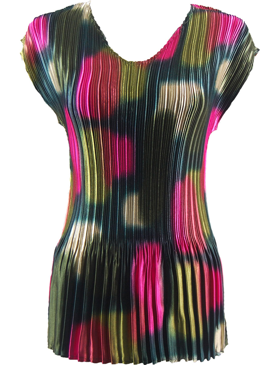Wholesale Satin Mini Pleats - Cap Sleeve V-Neck Spots - Slate-Pink-Olive - One Size (S-XL)