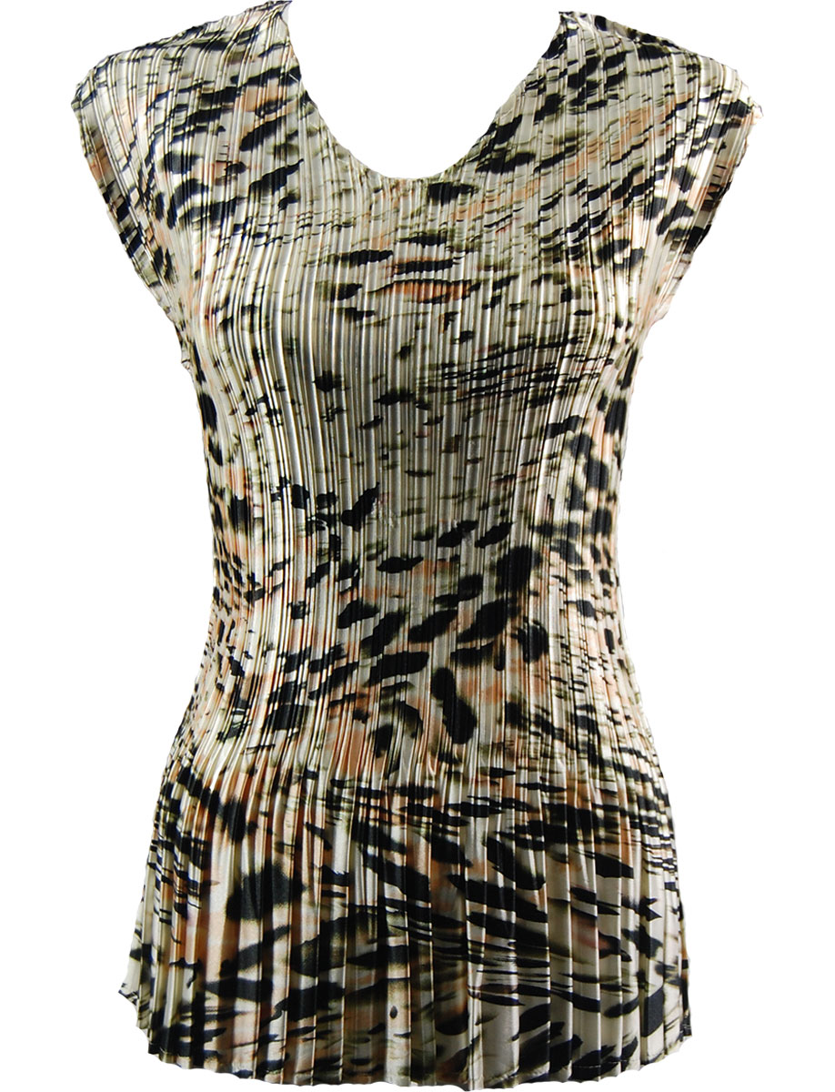 Wholesale Satin Mini Pleats - Cap Sleeve V-Neck Olive Leopard - One Size (S-XL)