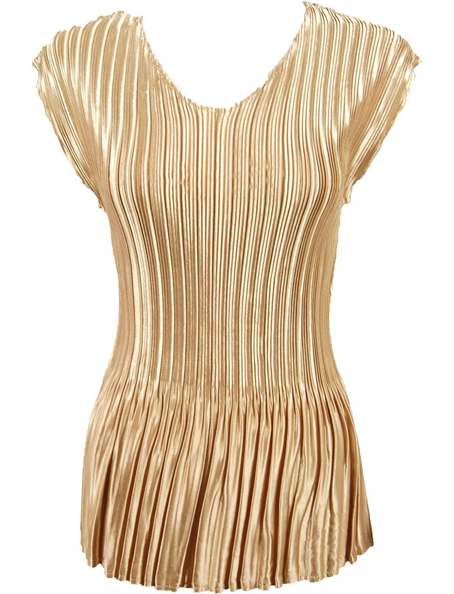 Wholesale Satin Mini Pleats - Cap Sleeve V-Neck Solid Light Golden Beige - One Size (S-XL)