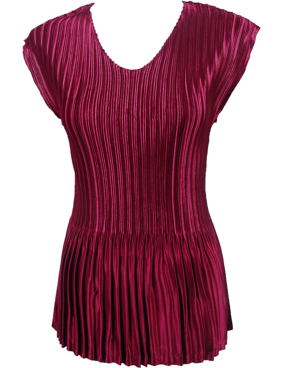 Wholesale Satin Mini Pleats - Cap Sleeve V-Neck Solid Ruby - One Size (S-XL)
