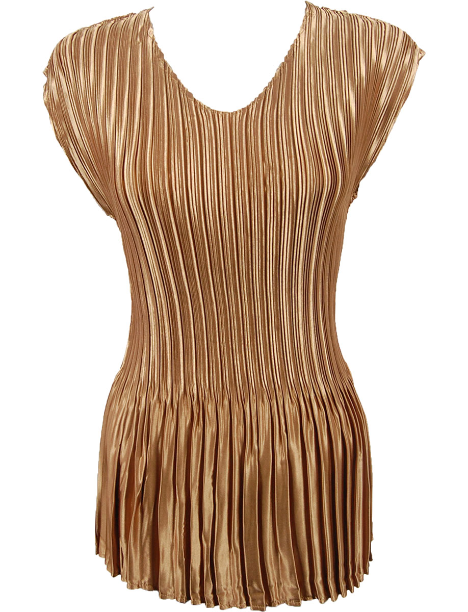 Wholesale Satin Mini Pleats - Cap Sleeve V-Neck Solid Gold - One Size (S-XL)