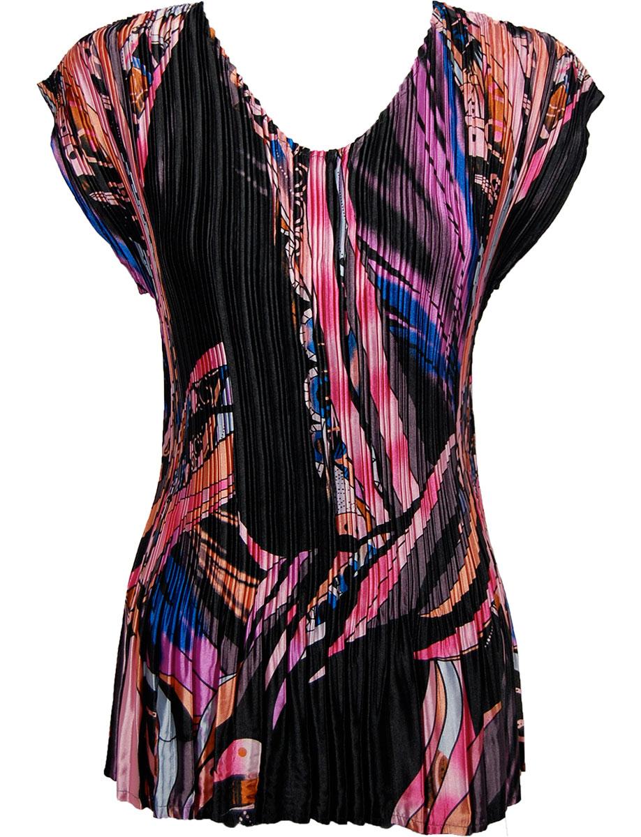 Wholesale Satin Mini Pleats - Cap Sleeve V-Neck Pink-Blue Ribbon Shapes - One Size (S-XL)