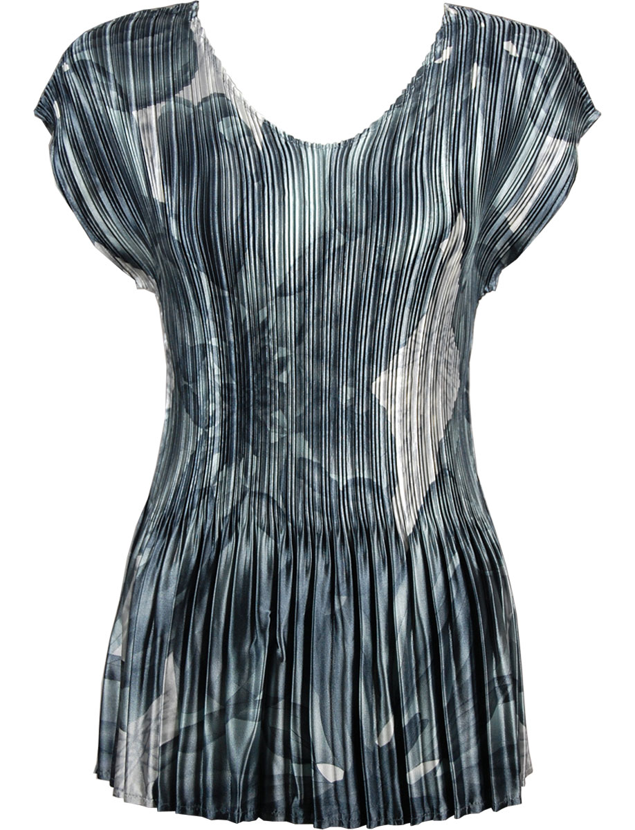 Wholesale Satin Mini Pleats - Cap Sleeve V-Neck Silver Abstract - One Size (S-XL)