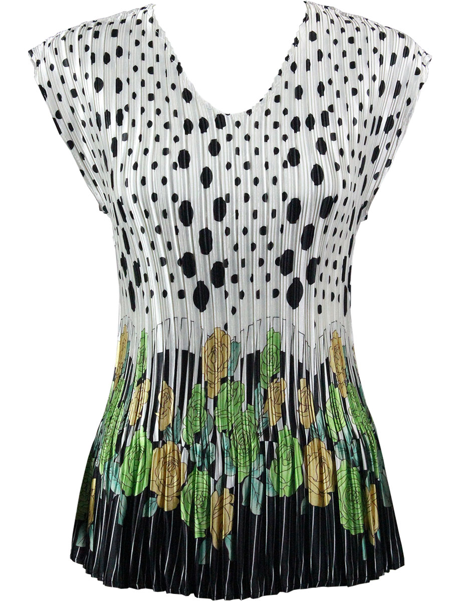 Wholesale Satin Mini Pleats - Cap Sleeve V-Neck Polka Dot Garden - Green - One Size (S-XL)
