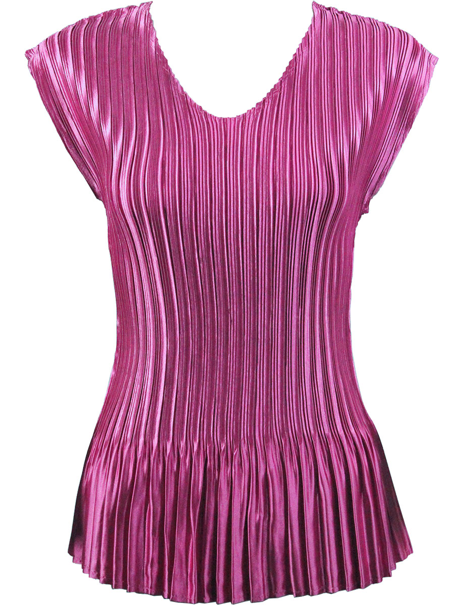 Wholesale Satin Mini Pleats - Cap Sleeve V-Neck Solid Orchid - One Size (S-XL)