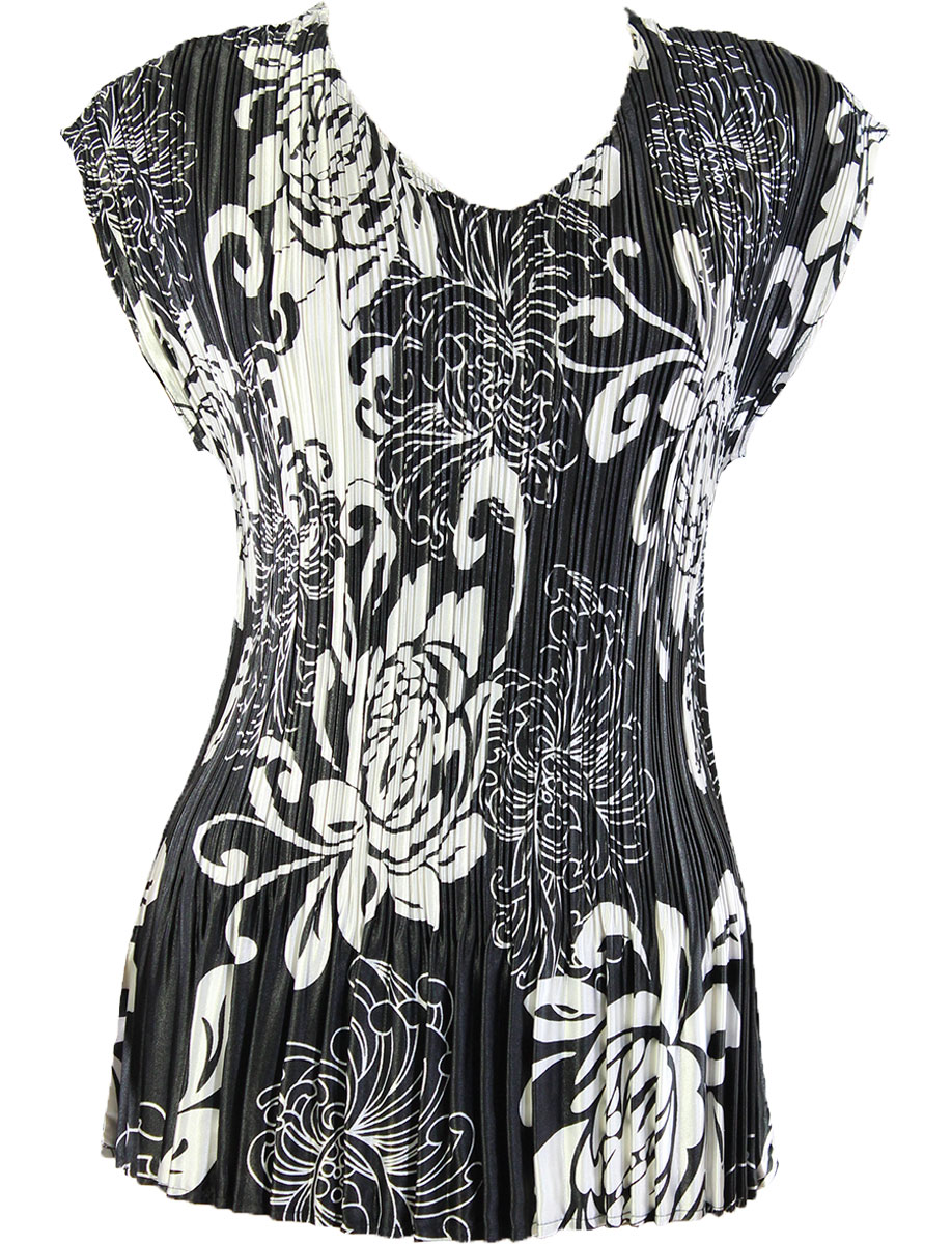 Wholesale Satin Mini Pleats - Cap Sleeve V-Neck Abstract Flowers Black-White - One Size (S-XL)